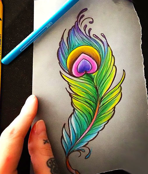 Colorful Peacock Feather Tattoo Design
