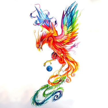 Colorful Phoenix Tattoo