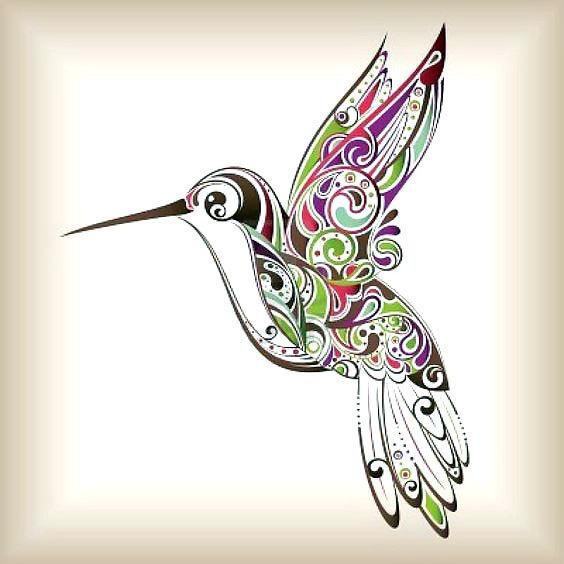 Colorful Ornate Hummingbird Tattoo Design