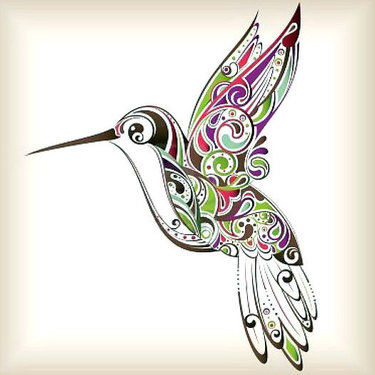 Colorful Ornate Hummingbird Tattoo