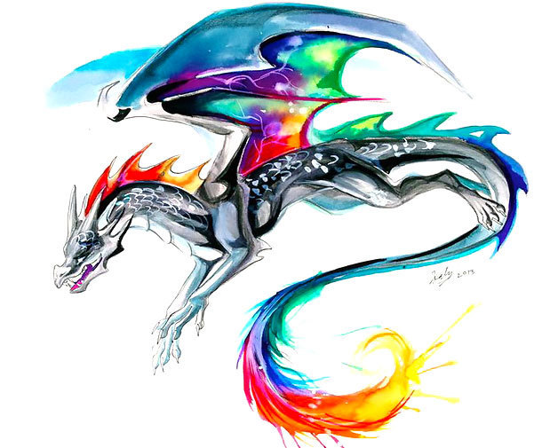 Colorful Watercolor Dragon Tattoo Design