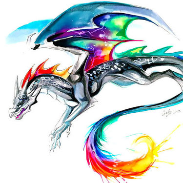 Colorful Watercolor Dragon Tattoo