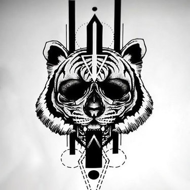 Cool Blackwork Sketch Tattoo
