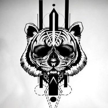 Cool Blackwork Sketch Tattoo