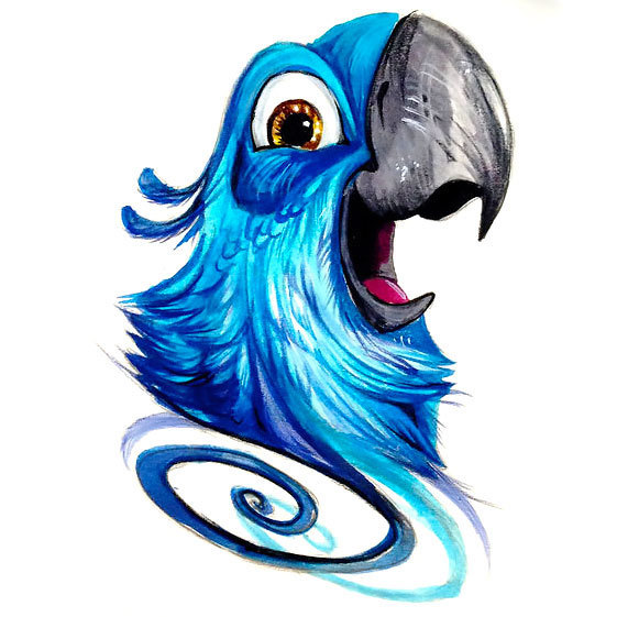 Cool Blue Parrot Tattoo Design
