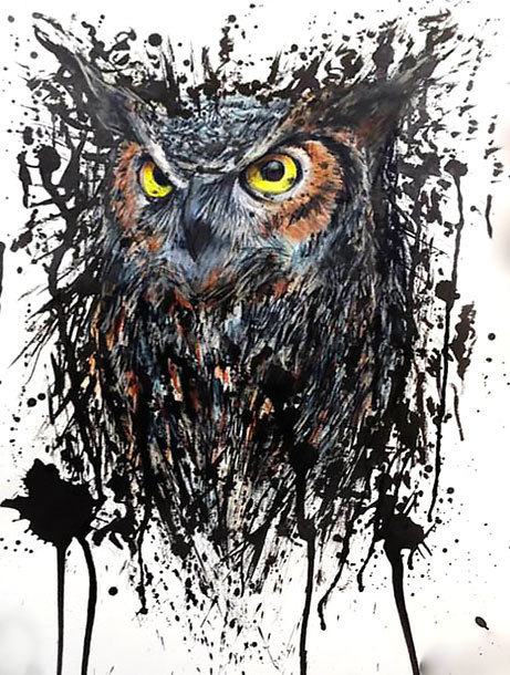 Cool Dark Owl Tattoo Design