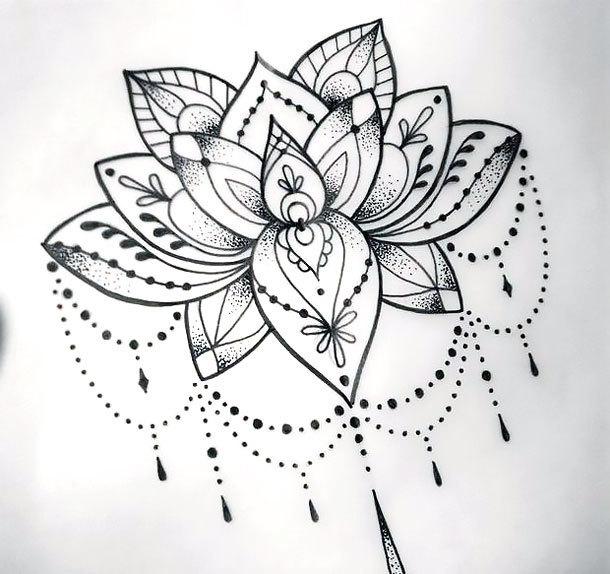 Cool Dotwork Lotus Tattoo Design