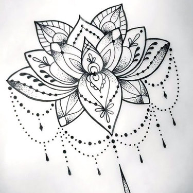 Cool Dotwork Lotus Tattoo