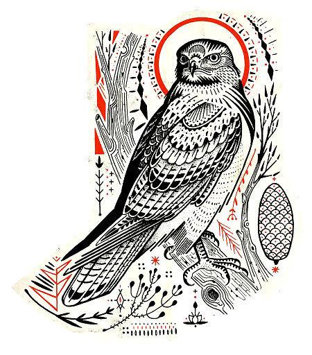Cool Hawk Tattoo Design