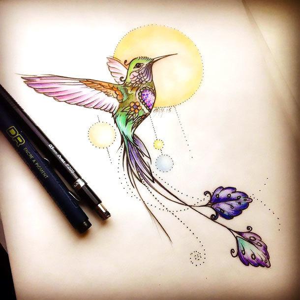 Cool Hummingbird Tattoo Design