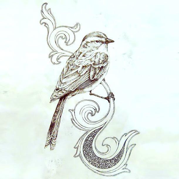 Cool Songbird Tattoo Design