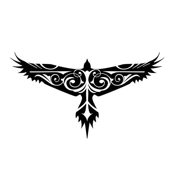 Cool Tribal Hawk Tattoo Design