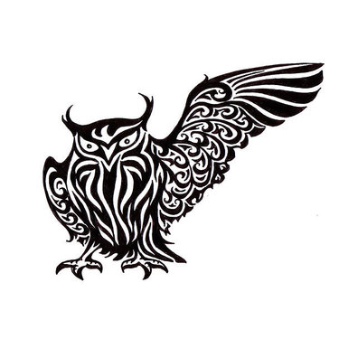 Cool Tribal Owl Tattoo