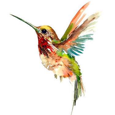 Cool Watercolor Hummingbird Tattoo