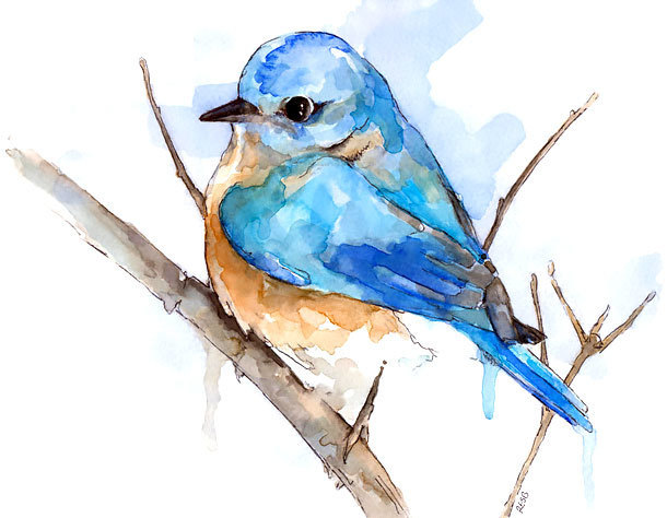 Simple Watercolor Bluebird Tattoo Design