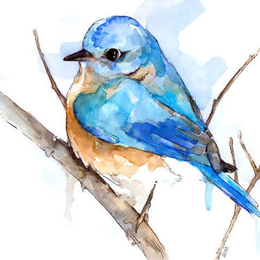 Simple Watercolor Bluebird Tattoo