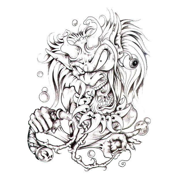 Crazy Black and Gray Shaman Tattoo Design