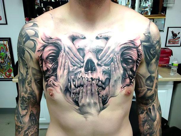 Best Skull on Chest Tattoo Idea