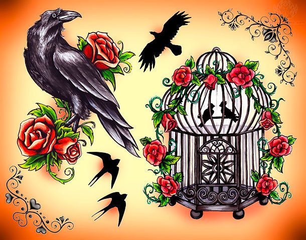 Crow and Cage Tattoo Design