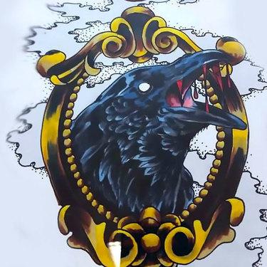 Crow Portrait Tattoo