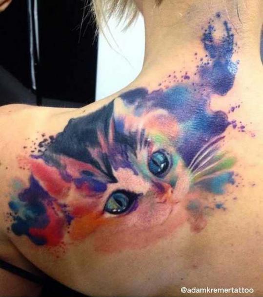 Cute Watercolor Kitty Tattoo Idea