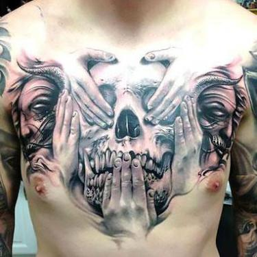 Best Skull on Chest Tattoo