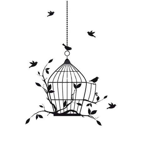 Small Birds on Birdcage Tattoo Design