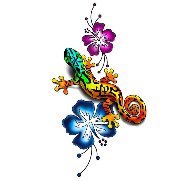 Small Colorful Lizard Tattoo Design