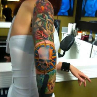 Best Skull on Elbow Tattoo