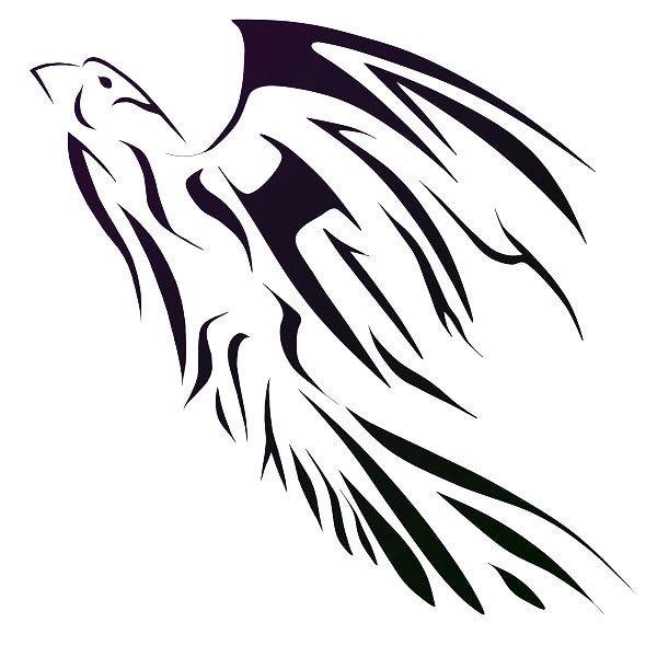 Soaring Tribal Hawk Tattoo Design