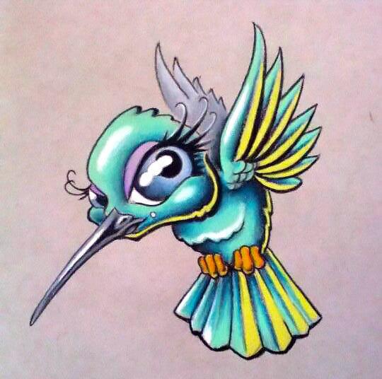 Cute Cartoon Hummingbird Tattoo Design