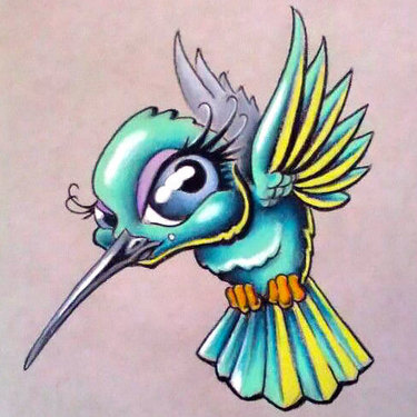 Cute Cartoon Hummingbird Tattoo