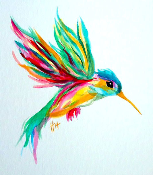 Cute Colorful Hummingbird Tattoo Design