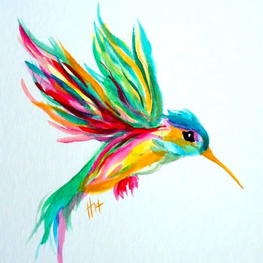 Cute Colorful Hummingbird Tattoo