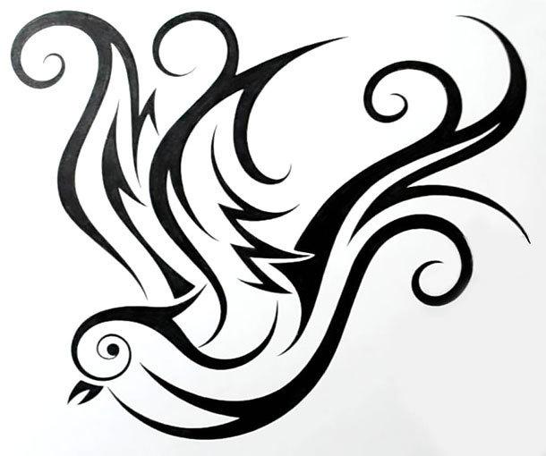 Cute Tribal Swallow Tattoo Design