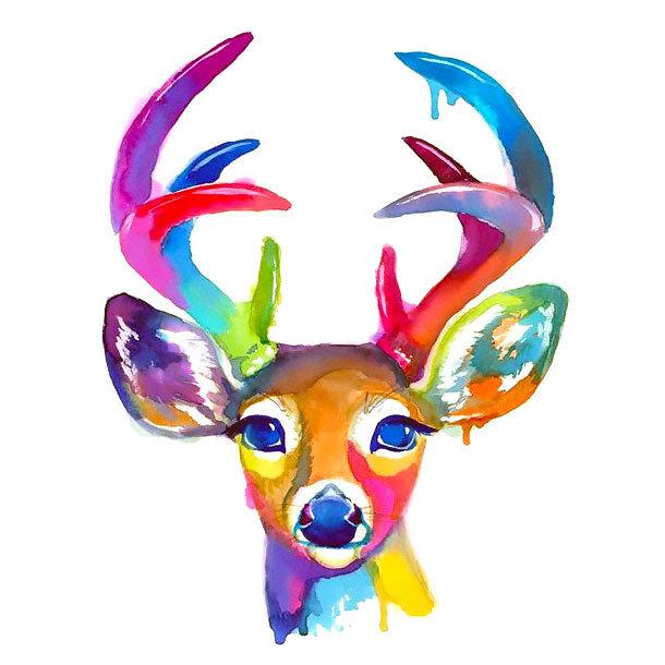 Cute Watercolor Deer Tattoo Design