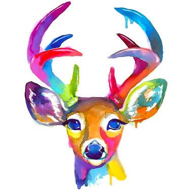 Cute Watercolor Deer Tattoo