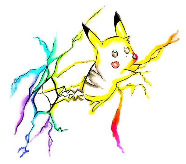 Cute Watercolor Pikachu Tattoo Design