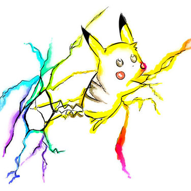 Cute Watercolor Pikachu Tattoo