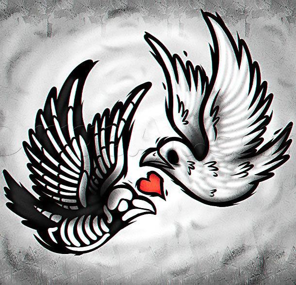 Dead and Alive Dove Tattoo Design