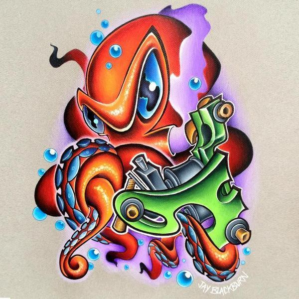 Delightful New School Octopus Tattoo Design