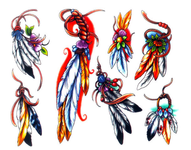 Different Feathers Tattoo Design