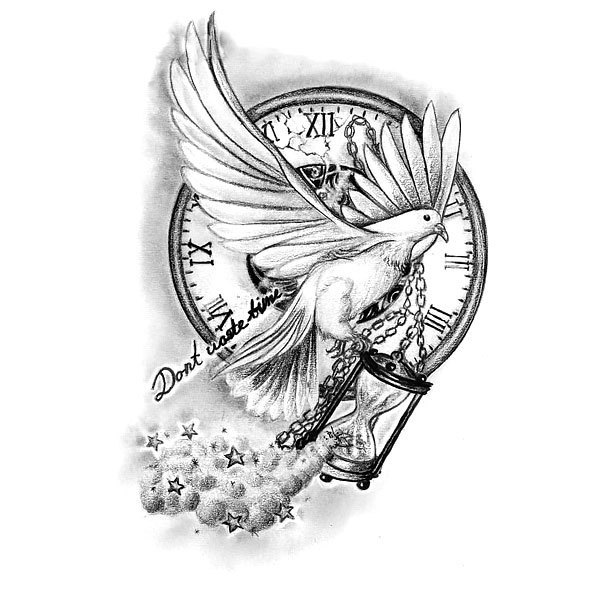 Don't Waste Time Tattoo Design