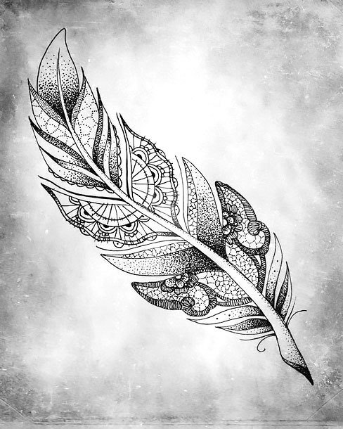 Dotwork Feather Tattoo Design