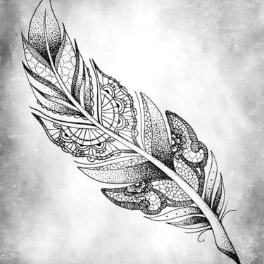 Dotwork Feather Tattoo