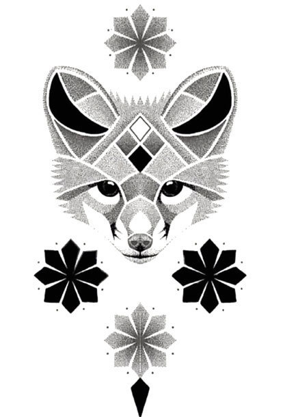 Dotwork Fox Tattoo Design
