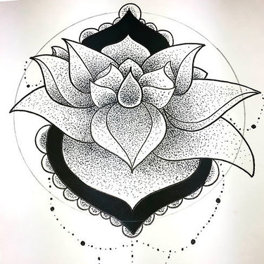 Dotwork Lotus Tattoo