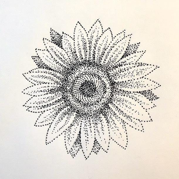 Dotwork Sunflower Tattoo Design