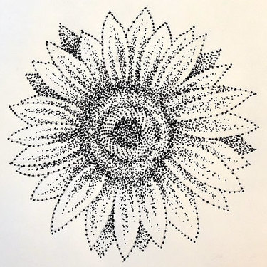 Dotwork Sunflower Tattoo