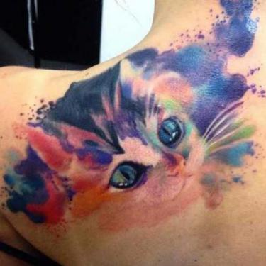 Cute Watercolor Kitty Tattoo